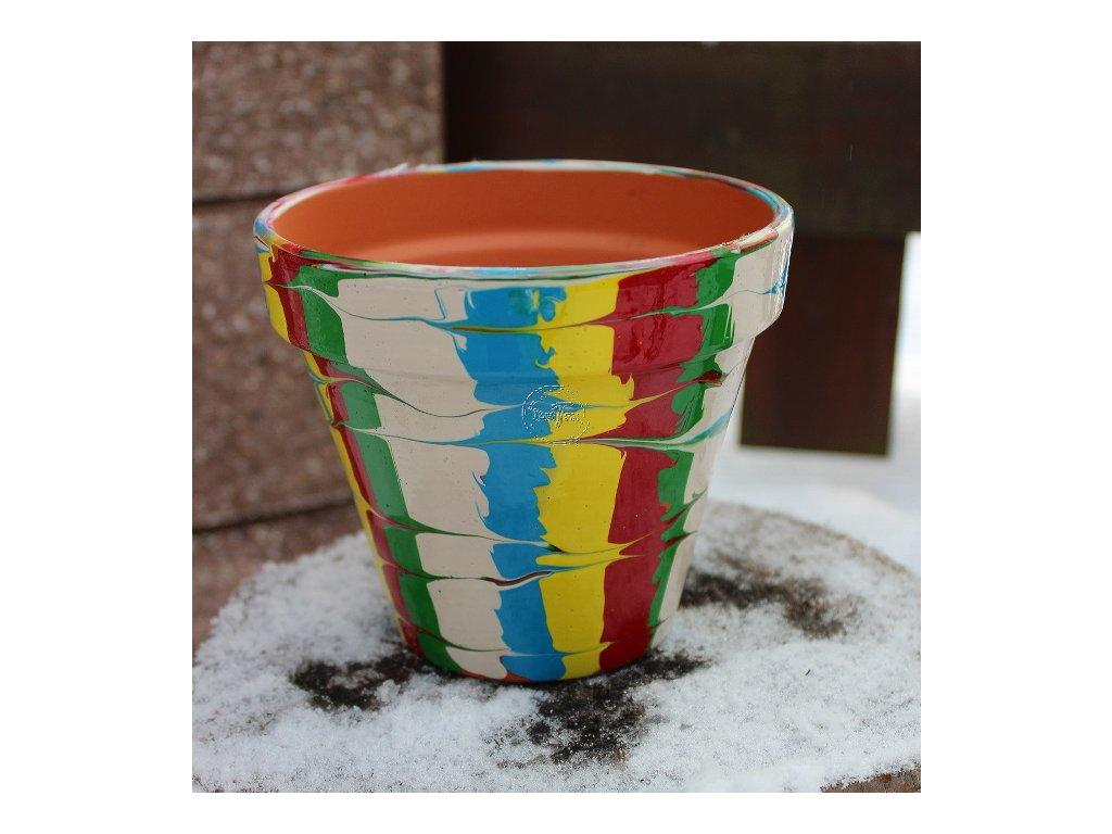 terakotový kvetináč ručne maľovaný kusovka