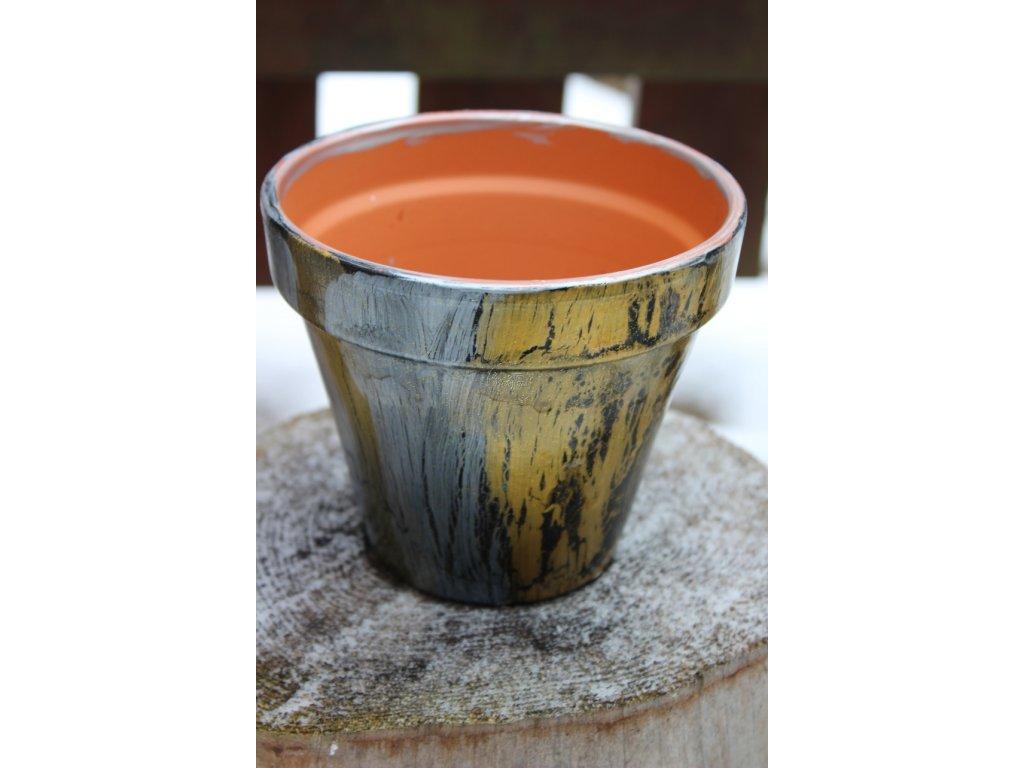 kusovka,ručne maľovaný terakotový kvetináč 13/8cm