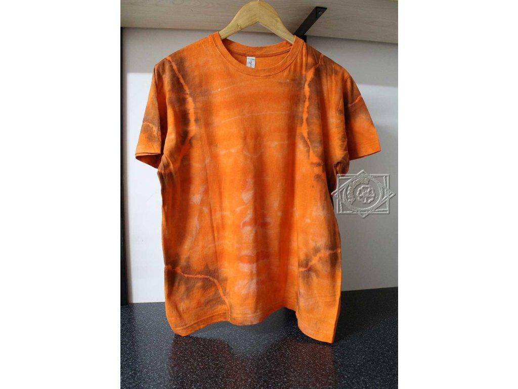 t-shirt uni M orange batik cotton