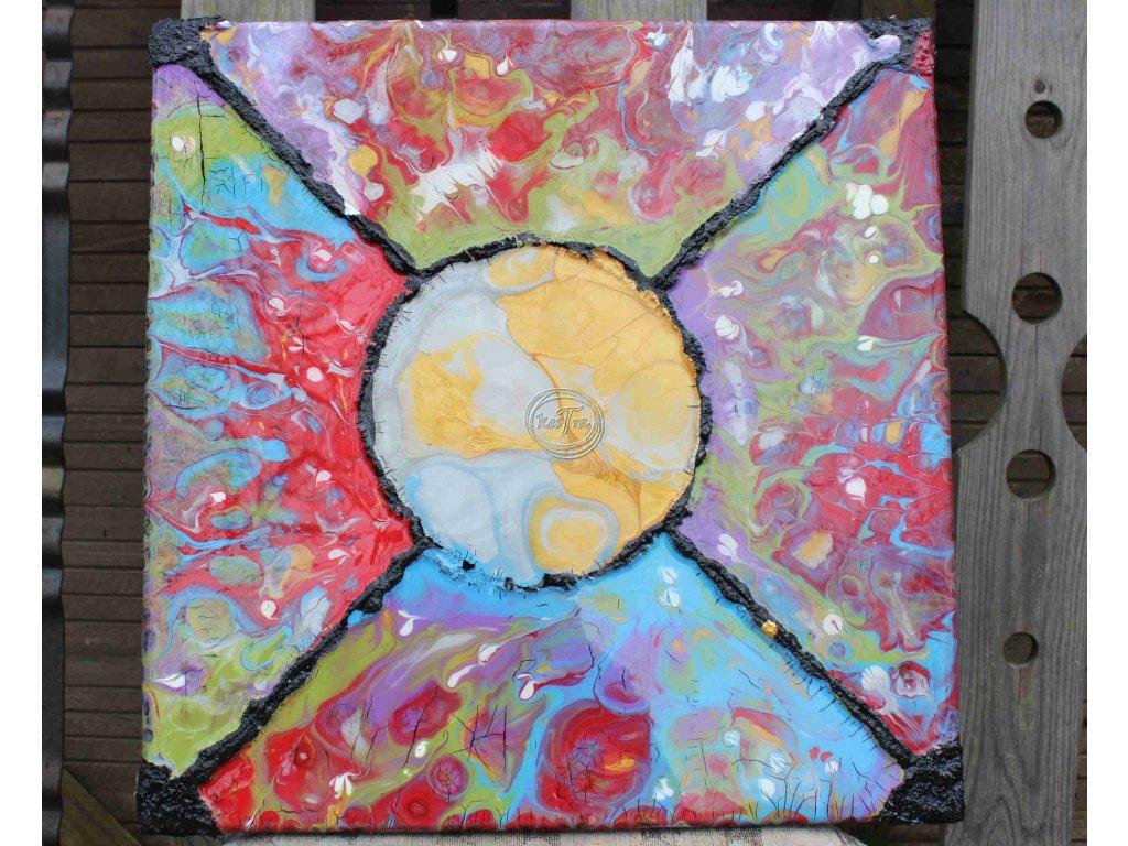 závesná dekorácia 40x40x2cm farebná, živica