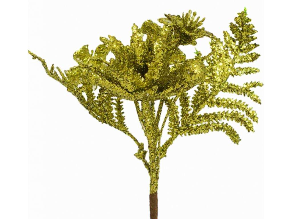 97545 vetvička 17cm gliter zlato zelena