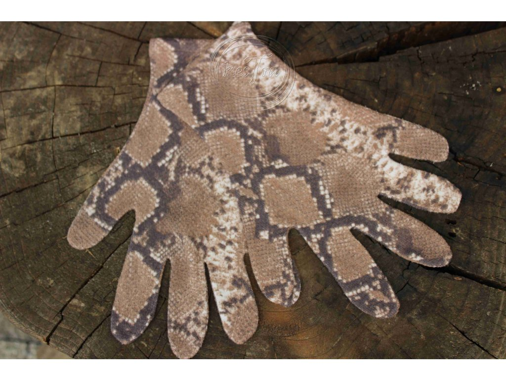 rukavice 5 prsté úpletové farebné Hnedý leopard recyvec