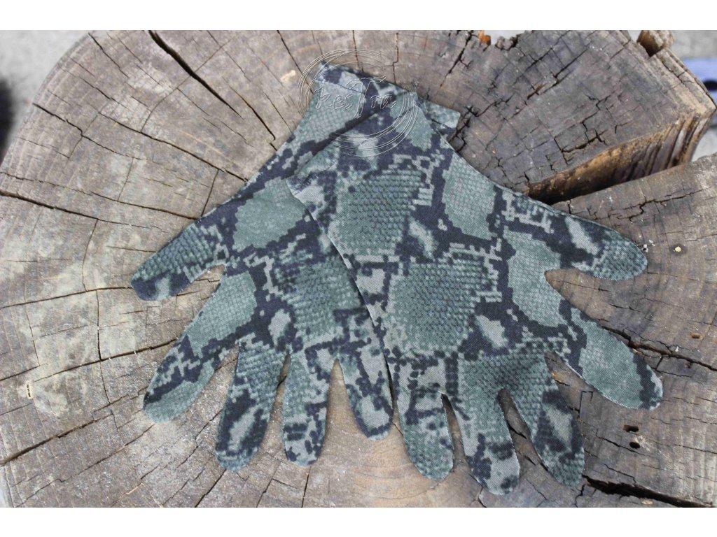 rukavice 5 prsté úpletové farebné Modrý leopard recyvec