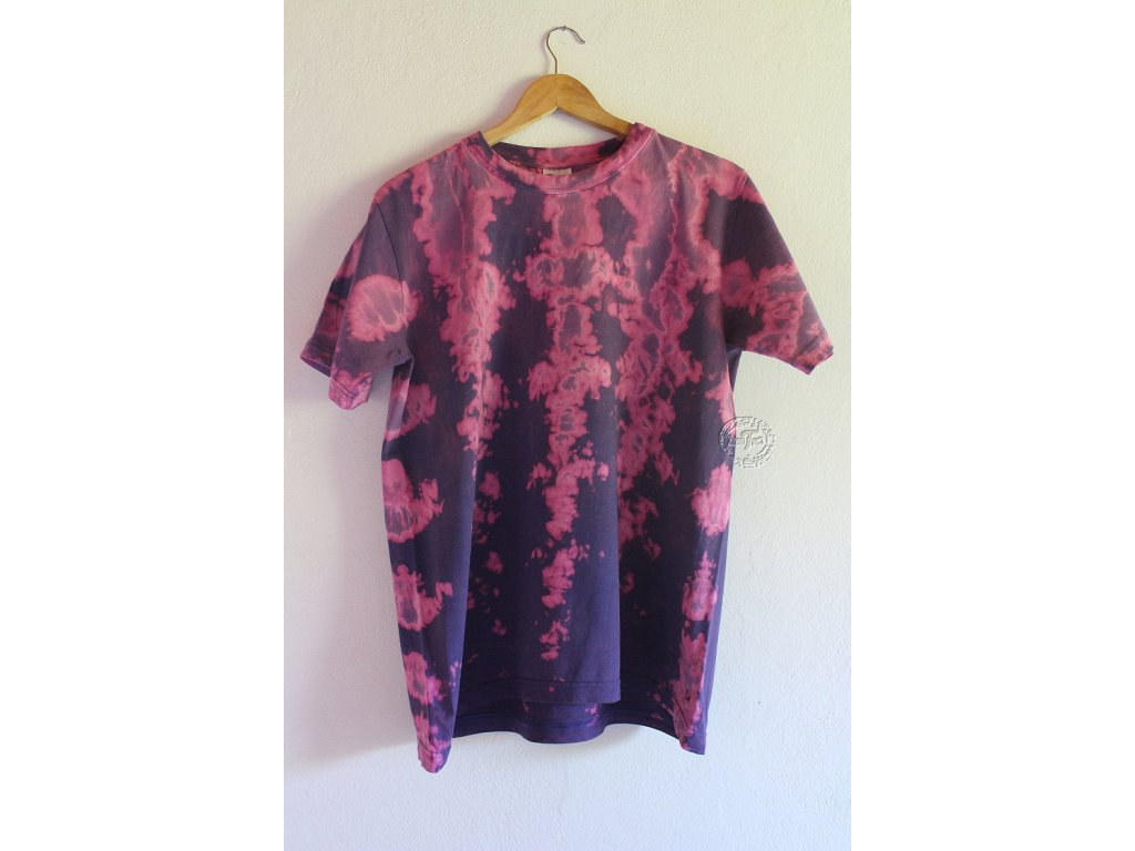 t-shirt batik L uni purple