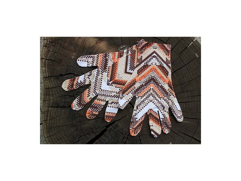 rukavice 5 prsté úpletové farebné hnedé