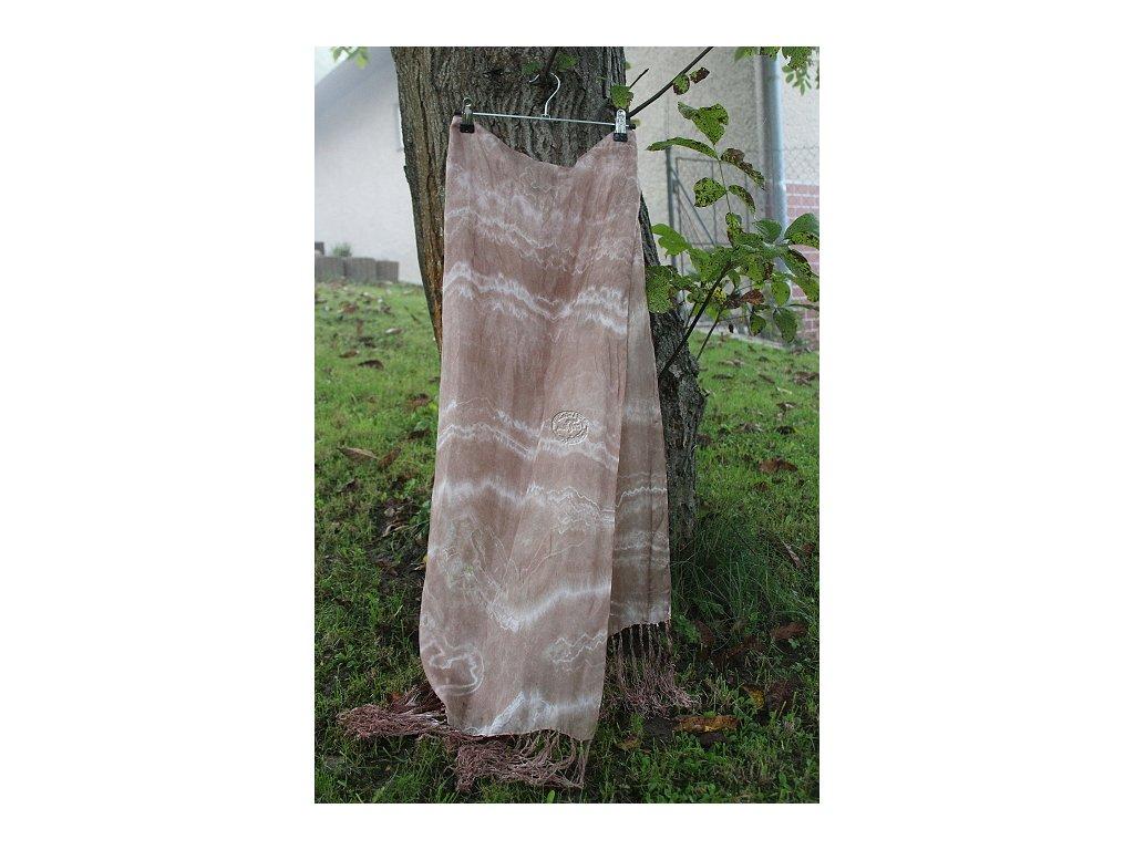 hodvábny šál hnedý 180x45cm