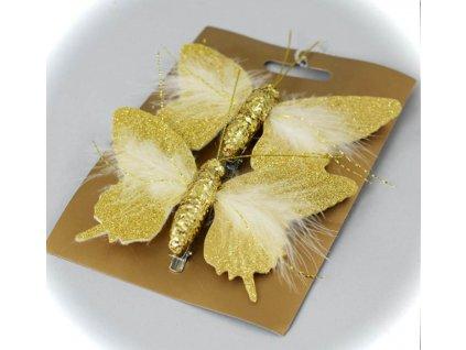 3000308 motyľ zlaty štipec 12cm