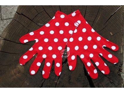 rukavičky úpletové biele bodky recyvec