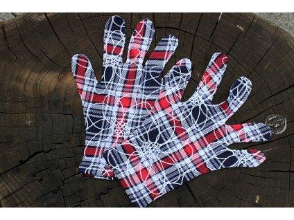 rukavoce dámske 5 prsté farebné káro