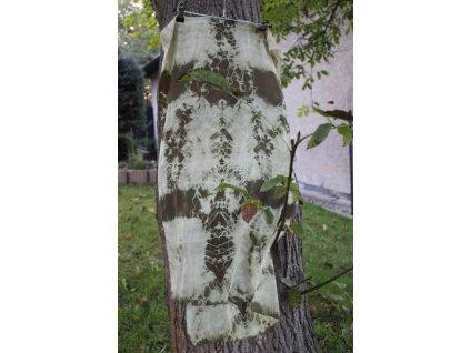 silk scarf green 180x45cm batik